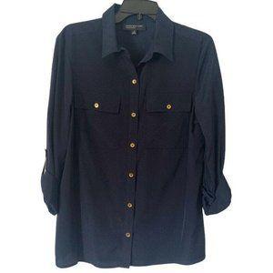 Jones New York Collection Womens Button Up Shirt